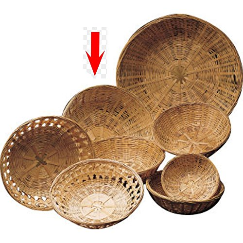 (10 x 3 1/2 Round Bamboo Basket Closed Weave)