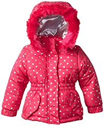 Weatherproof Baby Girls\' Pongee Puffer Jacket with Silver Heart Foil and Faux Fur Trim Around Hood, Pink Rose, 24 Months