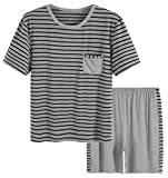 Latuza Men's Summer Sleepwear Striped Design Casual Pajama Set M Black Striped