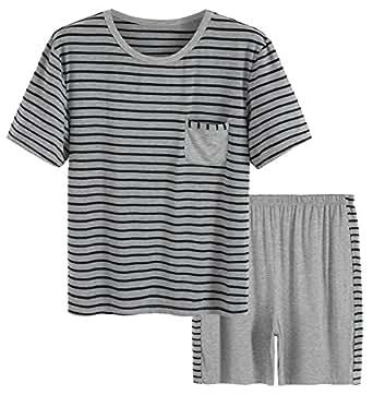 Latuza Men's Summer Sleepwear Striped Design Casual Pajama Set L Black Striped
