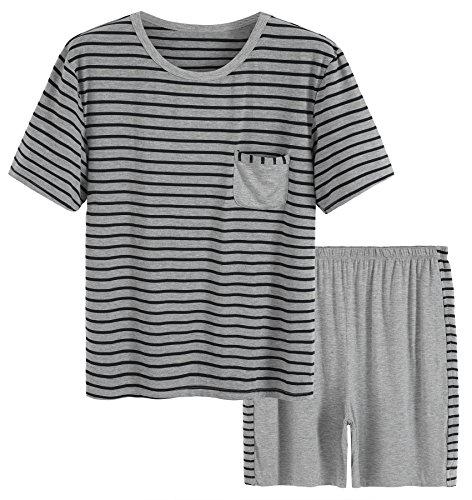 Sleepwear Striped Design Casual Pajama Set L Black Striped (Man Striped Pajamas)