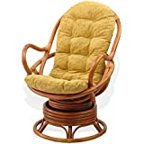 SunBear Furniture Lounge Swivel Rocking Java Chair Natural Rattan Wicker with Light Brown Cushion, Cognac