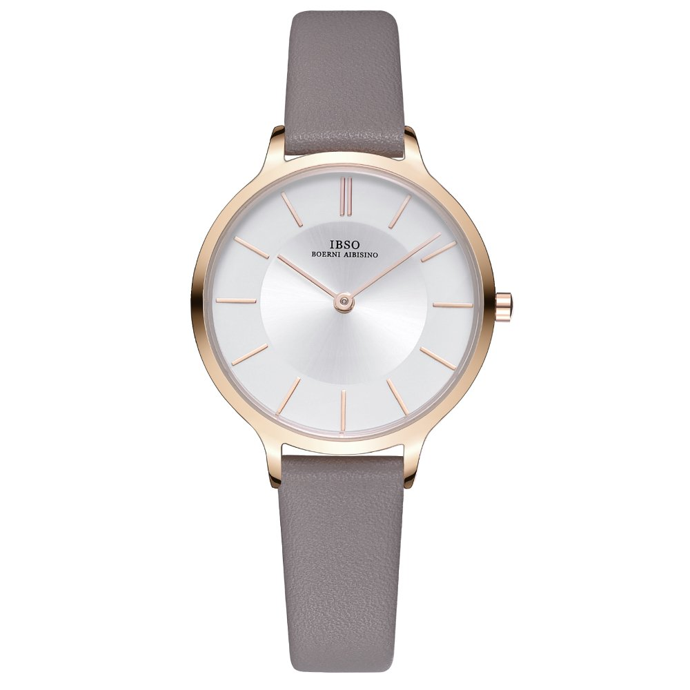 IBSO Women Fashion Simple Watch Ultra-Thin Retro Quartz Analog Leather Strap Ladies Wristwatch (Grey)