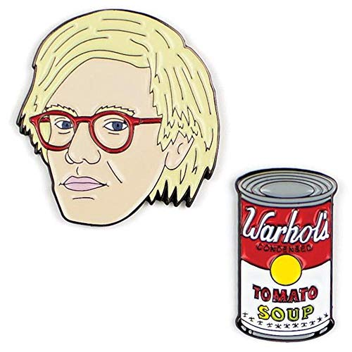 (The Unemployed Philosophers Guild Warhol and Soup Can Enamel Pin Set - 2 Unique Colored Metal Lapel Pins)