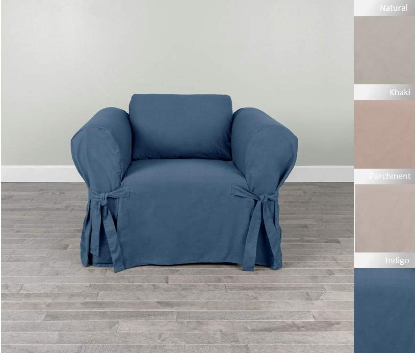 Serta | Relaxed Fit Durable Woven Linen Canvas Furniture Slipcover (Chair, Indigo)