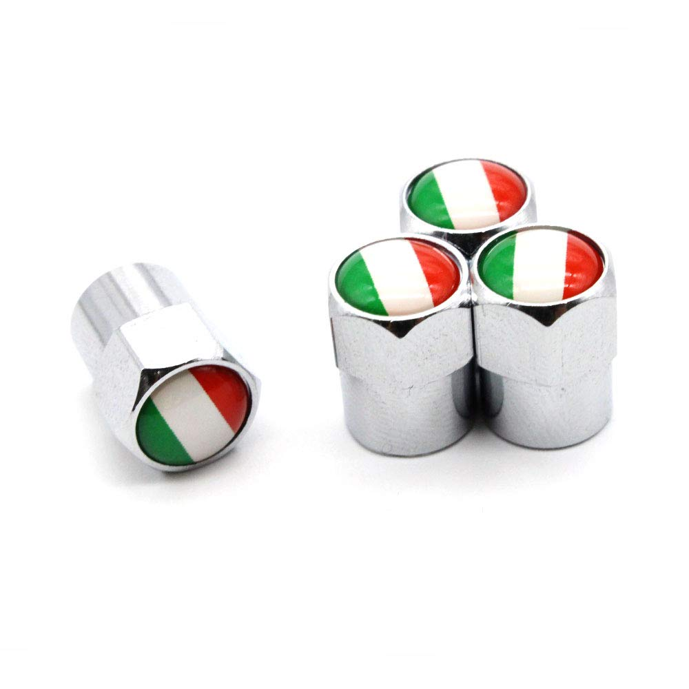 DINBGUCHI 4 Pcs/Set Pneumatique Valve Caps Italie Drapeau National Italie en Alliage D'aluminium/Cuivre pour Voitures VW Audi Toyota Honda BMW Benz