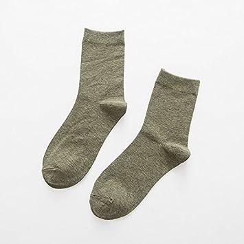 Liuxc Calcetines Calcetines de algodón Puro Medias de Tubo de Color Puro de los Hombres otoño