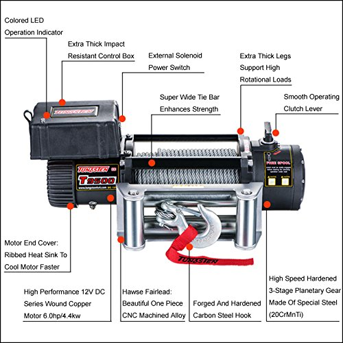 Tungsten4x4 T9500 Electric Winch 9500 lbs Load Capacity Waterproof IP67 with Wire Rope Roller Hawse and Wireless/Remote
