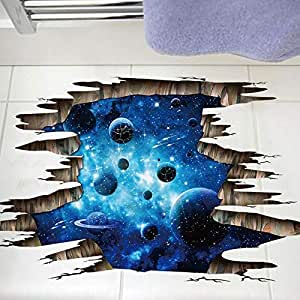 3D wall sticky dark blue galaxy PVC can remove three-dimensional decorative painting