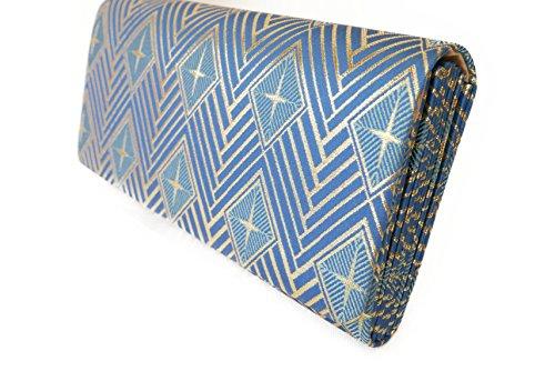 Diamond shape Connect Pattern- Clutch Bag, Nishijin KINRAN Blue×Gold colour