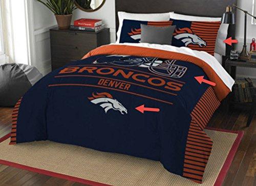 Denver Broncos Comforter Set Bedding Shams NFL 3 Piece Full-Queen Size 1 Comforter 2 Shams Football Linen Applique Colorful Bedding Set For Your Teenager
