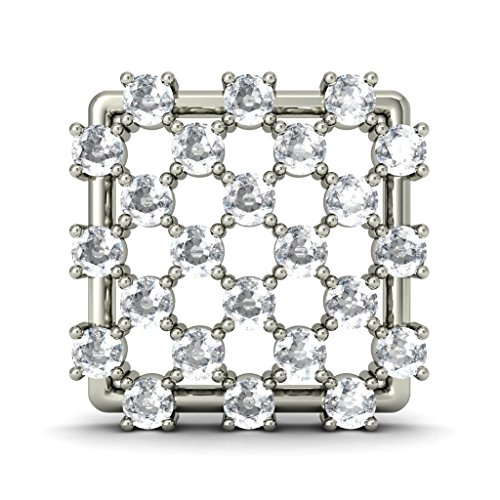 18 K Or Blanc 0.72 CT TW Round-cut-diamond (IJ | SI) Boucles d'oreille à tige