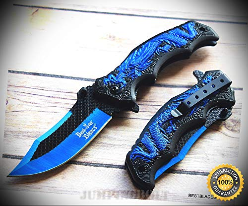 SPRING ASSISTED SHARP KNIFE WITH POCKET CLIP - 8.25 INCH - Premium Quality Hunting Very Sharp EMT EDC