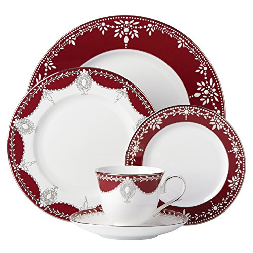 (Lenox Marchesa Empire Pearl 5 Piece Place Setting Dinnerware Set, Wine )