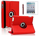 ipad ii case - iPad 2 Case, iPad 3 Case, iPad 4 Case, AiSMei Rotating Stand Case Cover with Wake Up/Sleep For Apple iPad 2, iPad 3, iPad 4 [ 9.7-Inch iPad Released before 2013 ] [Bonus Film+Stylus] Red
