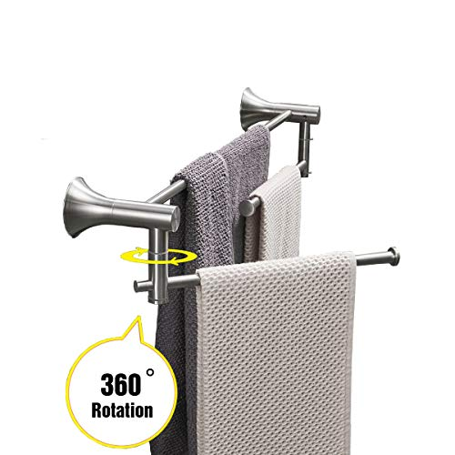 - Double Towel Bar Set 2-Tier Swivel Bath Shower Hand Towel Rail Shelf Holder 24 Inch Bathroom Hardware Wall Mount Kitchen Towel Rack Hanger Rustproof Stainless Steel Polished Brushed by KOOLIFT