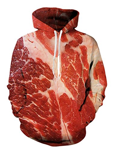 RAISEVERN Unisex Hoodie 3D Raw Meat Pullover Funny Red Beef Hooded Sweatshirts with Pockets for Womens/Mens