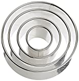 Ateco 1440 Plain Edge Round Cutters in Graduated Sizes, Stainless Steel, 4 Pc Set