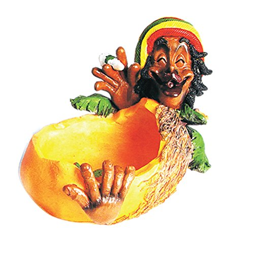 Ashtray Rasta Figurine Ashtray - Jamaican Man Marijuana Joint Ashtray - Weed Hemp Pot Cannabis Party Accessory Tropical Fruit Cigarette Mango Ashtray
