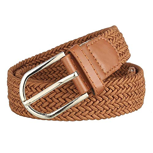 Uniq World Women's Men's Girl's Boy's Elastic Stretchable Braided Canvas Cotton Belt Formal Casual Belt (Combo of 2 Pack) Tan Color Belt (Fit On Upto 34 inch of Waist)