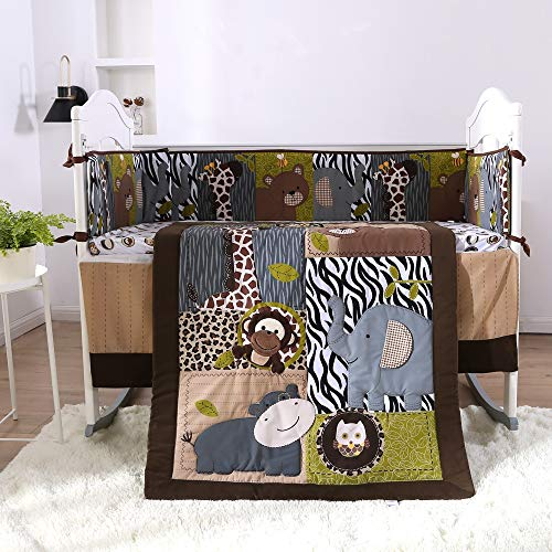 KINBEDY Originals Brown Woodland Animals 7 Piece Crib Bedding Set, Neutral Nursery Crib Set for Baby Girl and Boy, Including 4 Bumper Pads