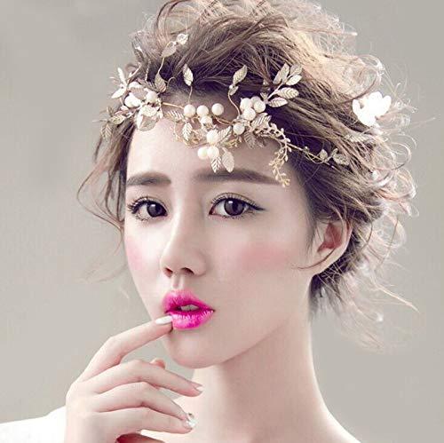 Gold Olive Leaf Pearl Peace Hairband Headwear Hair Clip Accessory Tiara Crown - Strass Chocolate