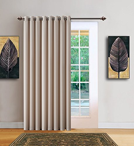 Warm Home Designs 1 Panel of Cream Ivory Blackout Patio Door Curtains. Each Extra Wide Insulated Thermal Sliding Door or Room Divider Curtain is 102
