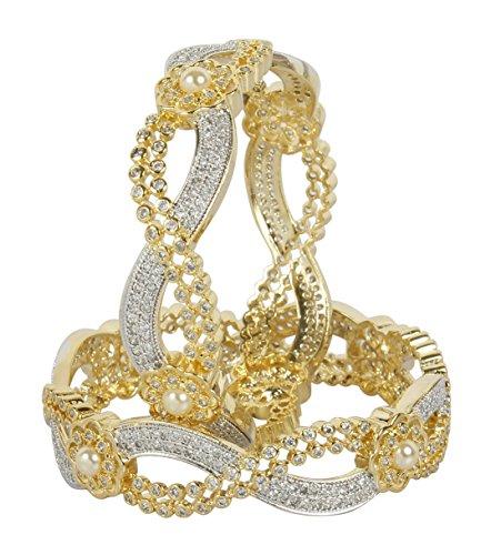 MUCH-MORE Fantastic American Diamond Swarovski Elements Indian Bangles Jewelry (401, 2.8)