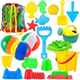 PeeNoke 20 Pieces Beach Sand Toys Set Models, Beach Pail Set with Molds Bucket, Rake, and Shovel in Zippered Bag with Reusable Easy to Pack Mesh Backpack