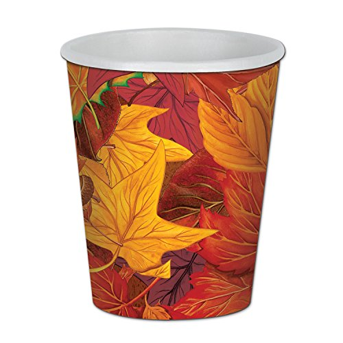 Beistle 90811 Fall Leaf Beverage Cups (8 Pack), 9 oz, Multicolor (Somerset Cup)