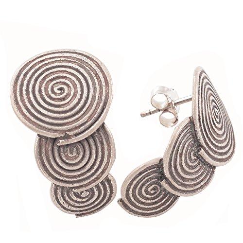 Three Circle Curved Earrings Pure Silver Karen Hill Tribe Handmade - Hill Tribe Silver Circle