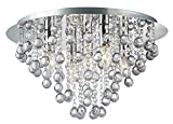 Palazzo 5 Light Round Polished Chrome Flush Crystal Acryl