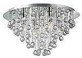 Palazzo 5 Light Round Polished Chrome Flush Crystal Acryl