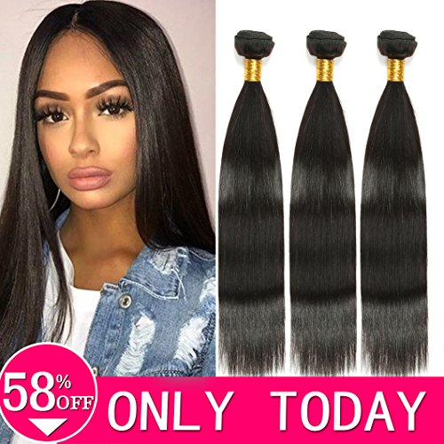"8A Brazilian Virgin Human Hair Straight 3 Bundles Remy Hair weft 100% Unprocessed Hair Weaving Extensions (18"" 20"" 22""ST)"
