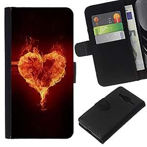 Stuss Case / Funda Carcasa PU de Cuero - Corazón Fuego - Samsung Galaxy Core Prime