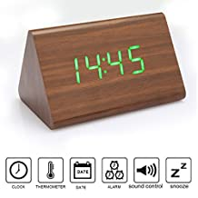 Anten Creative LED Digital Wood Alarm Clock Voice Sound Control USB/AAA Time Date Temperature Display 5.39X3.46X3.46 Inch Green Light Brown