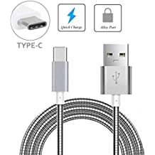 Metal Braided Type-C USB Cable Charger Power Sync Wire 6ft Long Data Cord USB-C [Fast Charge] for Boost Mobile Samsung Galaxy S8 - Boost Mobile ZTE Max XL - Boost Mobile ZTE Warp 7
