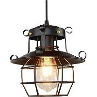 WHKOSK Farmhouse Black Pendant Light, Industrial Metal Wire Cage Hanging Lantern Light, Retro American Style Chandelier…