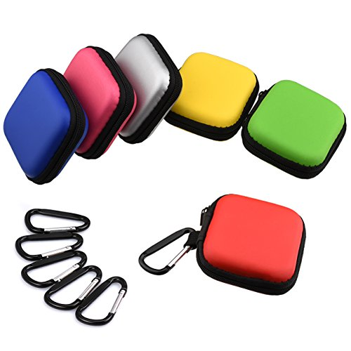 Meuxan 6-Pack 6 Color Earbud Case Earphone Storage Pouch with Carabiner for USB Cable Flash Drive and More