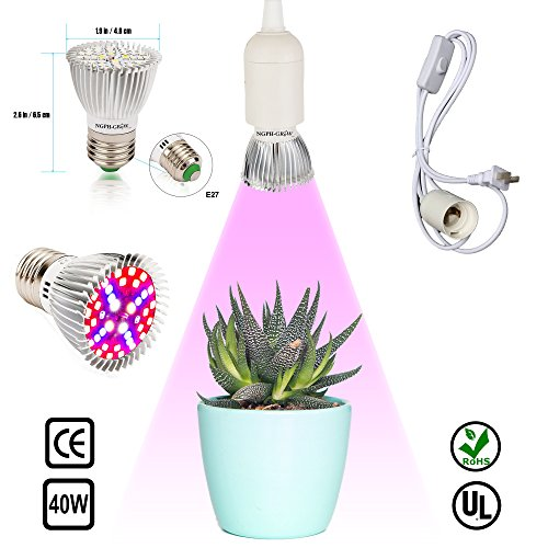 LED Plant Grow Light Bulb Lamp Full Spectrum 40W & Pendant Light Socket E27 E26 With Switch for Hydroponics Gardening, Flower & Veg, Indoor Growing, Greenhouse, Potted Plants & Indoor Garden by NGPH