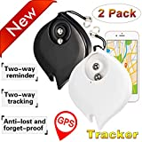 2 Pack Smart Key Finder Locator Pet Tracker Alarm GPS for Keys Wallet Kids Dog Cat Anti-lost Tag with Stress Relief Balls APP Control Wireless Mini Finder for IOS Android Key Chain Gift(Black, White)