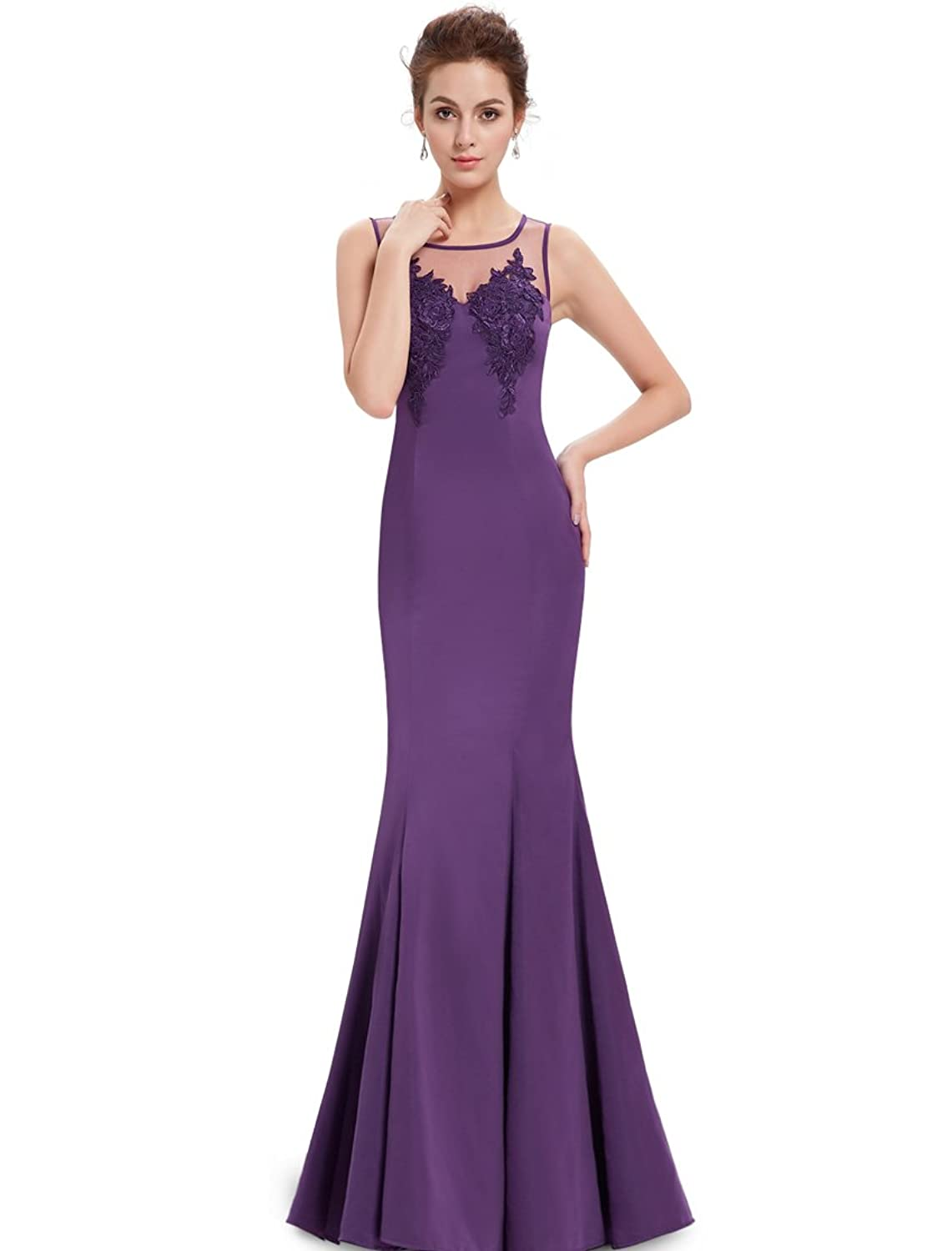 Ever Pretty Elegant Illusion Neckline Black Mermaid Evening Dress 08358