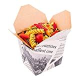 Disposable Noodle Take Out Container, Noodle To Go Box - Eco-Friendly Paper - Square - 16 oz - Newsprint with Kraft Interior - 200ct Box - Restaurantware