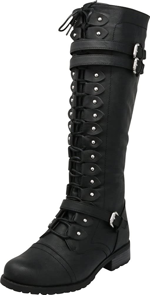 Black Pu Cambridge Select Women's Lace-Up Strappy Knee High Combat Stacked Heel Boot