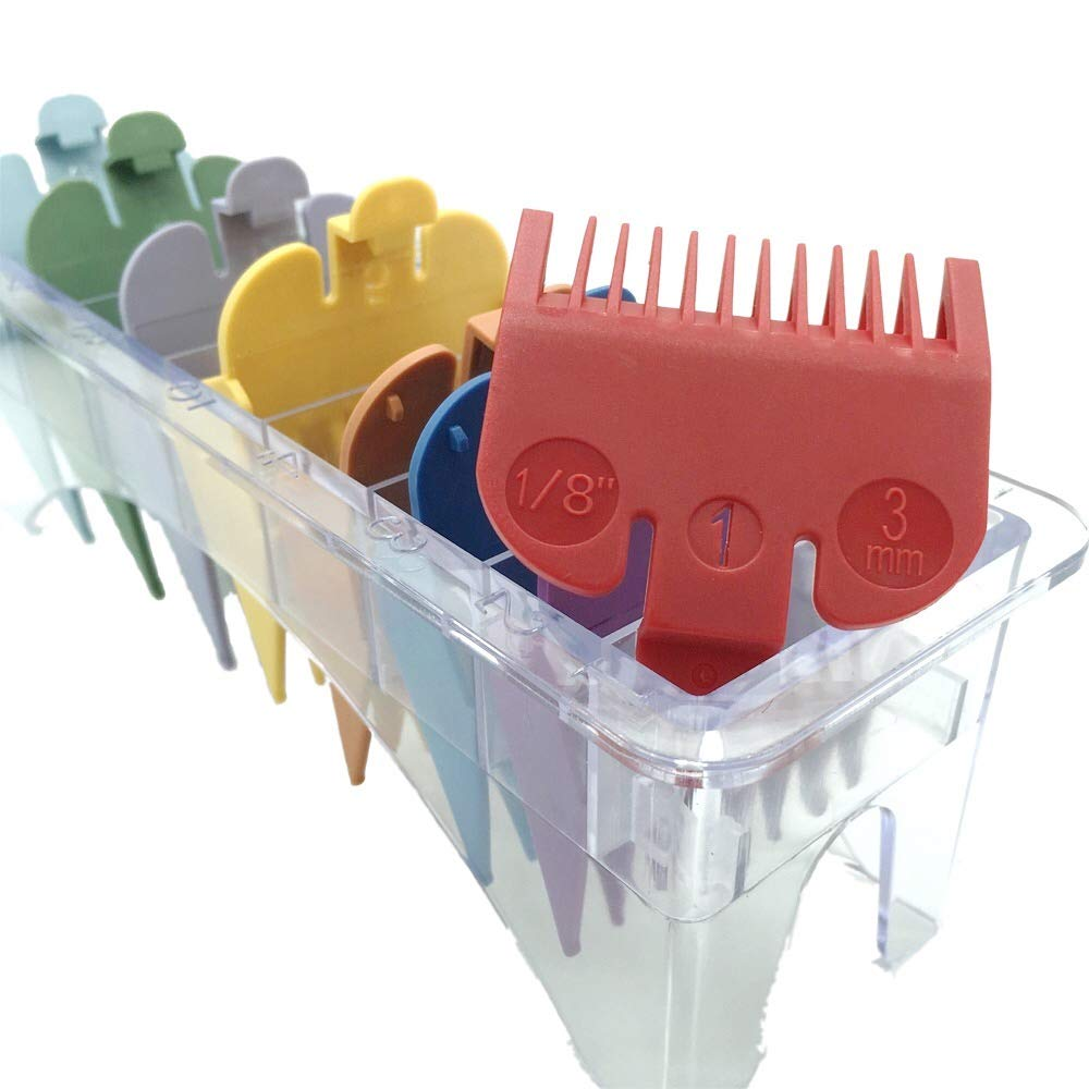 "Professional Hair Clipper Guards Guides 8 Color Coded Cutting Guides #3170-400- 1/8"" to 1 fits for all Wahl Clippers(Multi Color)"