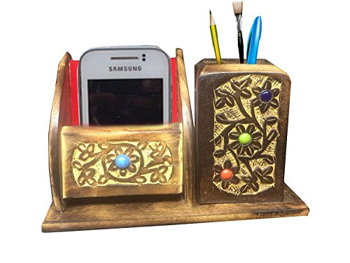 Wooden Mobile cum Pen Stand, Carved Mobile Holder, Pencil Stand, Gift your Valentine's on Special Day