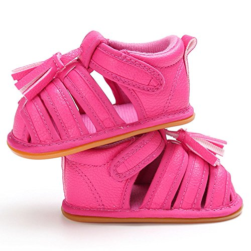 hibote Scarpe prewalker sandali antisdrucciolevoli del cuoio molle delle neonate dei neonati delle ragazze delle ragazze Rose 6-12M