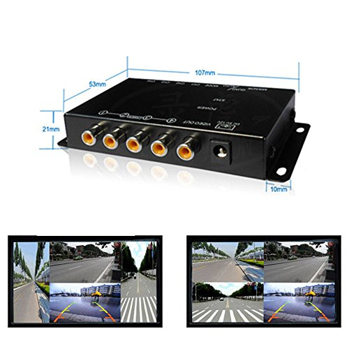 Quad Mini Video (4Ch Mini Mobile Video Quad Video Processor for Vehicle Cameras with Image Mirror Function 4 View Image Split Screen Control Box)
