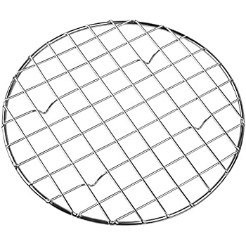 Bafvt Cooling & Baking Rack - 304 Stainless Steel Round Grill Wire Rack for Rib, Bacon - Sheet Pan for Cookie and Cakes