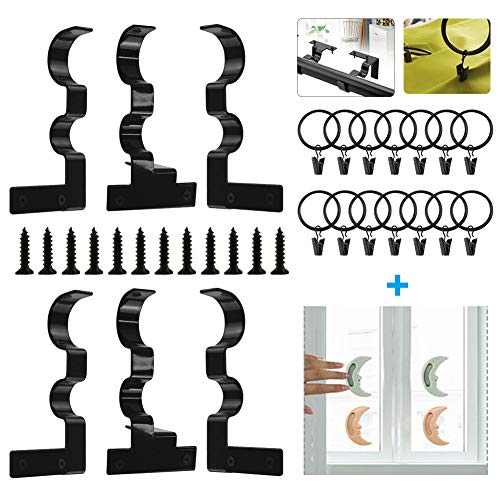 QIQU 3 Pairs Curtain Rod Holders Set Adjustable Double Curtain Rod Brackets into Window Frame for 1